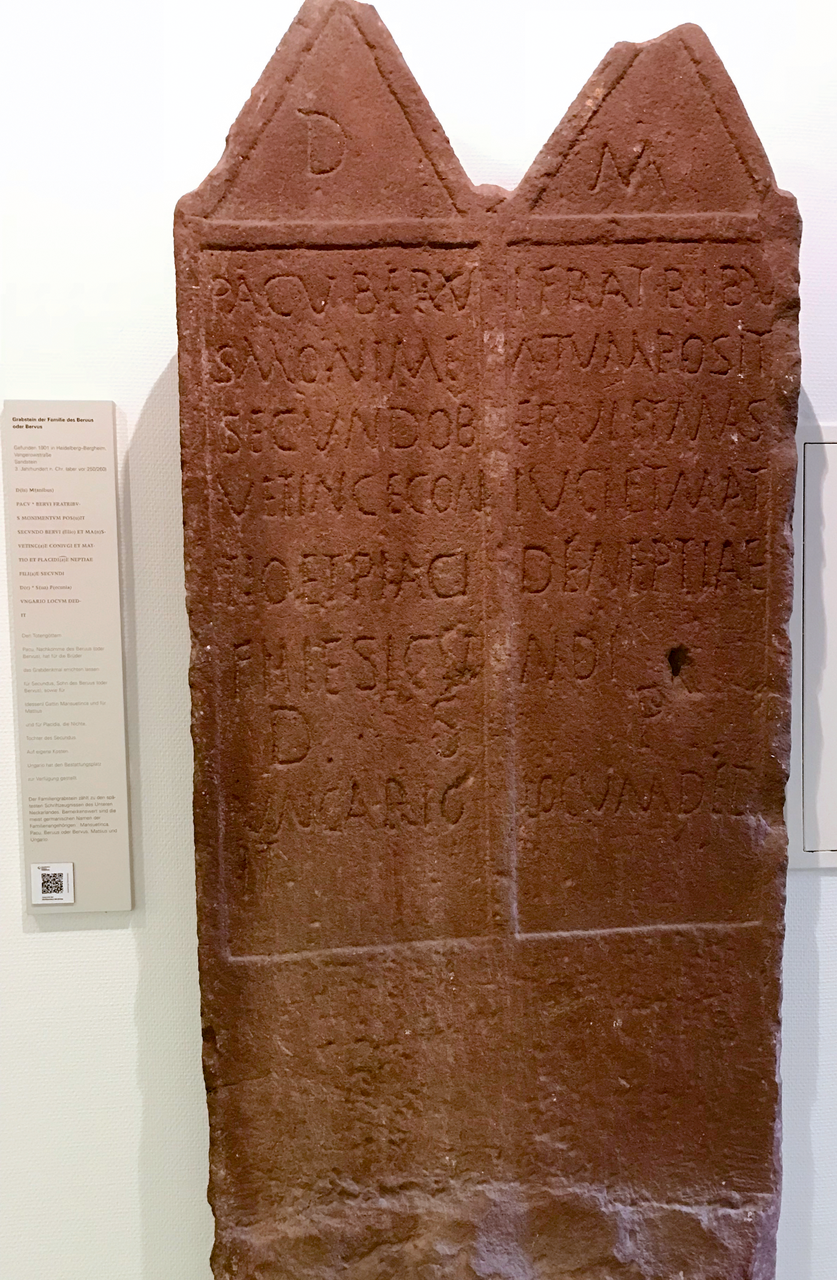 General view of red standstone tombstone HD-Ber 1993/8 as displayed in the museum.